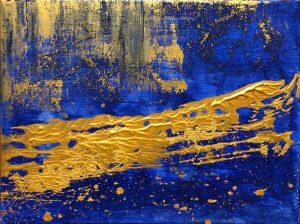 abstraktes bild blau mit gold handgemalt