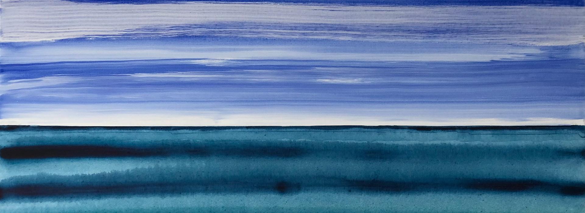 Handgemalte Bilder Abstrakt Blau Meer Bild mit Himmel