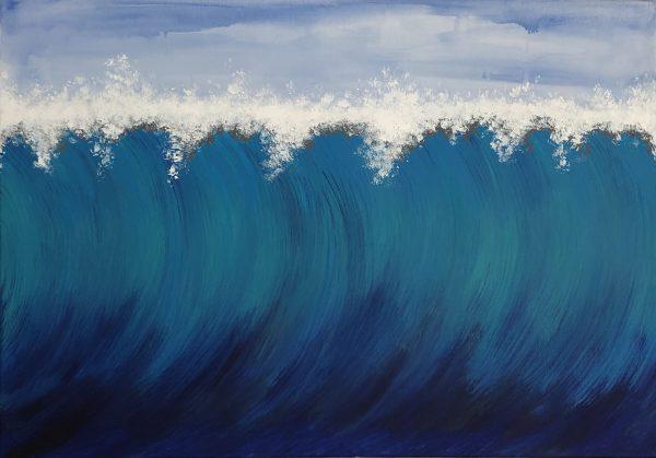 Gemalte Wellen Bilder kaufen 100x70cm