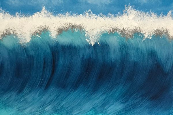 Wellen Bild Acryl Echt Handgemalt